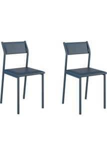 Kit 2 Cadeiras 1709 Azul Noturno - Carraro Móveis