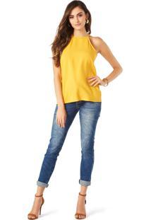 Blusa Lecimar Em Tricoline Viscose Alto Verão Básica Amarelo