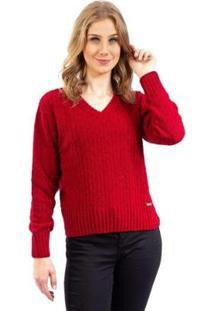 Blusa De Malha Ponto Vazado Gola V Sumaré Feminina - Feminino-Vermelho
