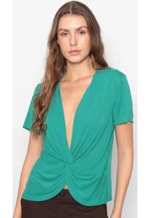 Blusa Com Transpasse & Torã§Ã£O- Verde- Seduã§Ã£O Dressseduã§Ã£O Dress