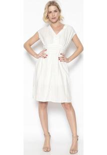 Vestido Listrado Com Franzidos- Off White- Vip Reservip Reserva