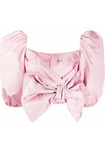 Redvalentino Blusa Cropped Com Detalhe De Laço - Rosa
