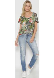 Camiseta Ampla Manga Curta - Verde & Coraltriton