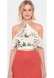 Blusa Cropped Com Amarração - Off White & Verde - Lala Concha