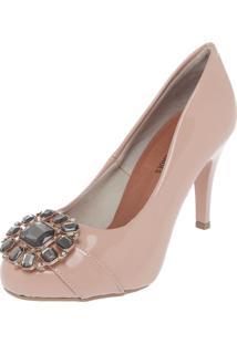 Scarpin Dafiti Shoes Pedrarias Nude