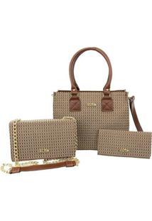 Kit Bolsas Handbag Clutch E Carteira Feminina Prática Casual - Feminino-Marrom