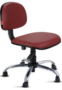 Cadeira Secretária Giratória Cromada Courvin Bordô
