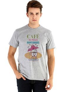 Camiseta Ouroboros Manga Curta O Poder Do Café - Masculino-Cinza