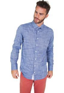 Camisa Lupim Slim Fit Azul Riscado