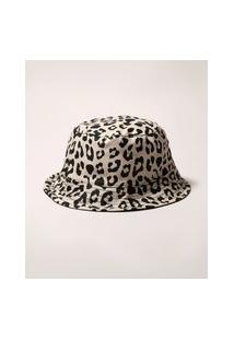 Chapéu Bucket Hat Dupla Face Estampado Animal Print Onça Bege