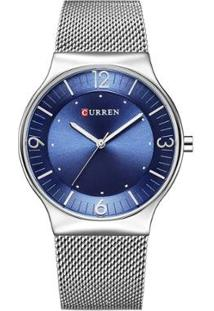Relógio Curren Analógico 8304 Feminino - Feminino-Prata+Azul