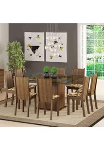 Conjunto De Mesa Com 8 Cadeiras Camila Rustic E Bege