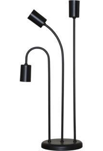 Abajur Retro Luminaria De Mesa Para 03 Lâmpadas Ideal Para Sala Preto