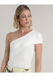 Blusa Feminina Um Ombro Só Em Tricô Com Sobreposição Off White