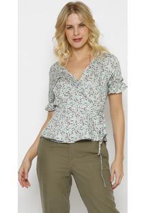Blusa Floral Com Amarraã§Ã£O- Off White & Verde Claro-Vip Reserva
