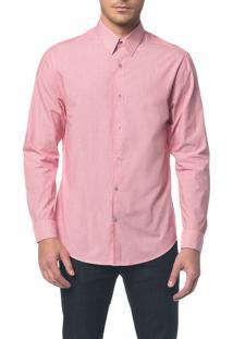 Camisa Regular Ml Micro Listrad Vermelho Camisa Regular Ml Micro Listrad - Vermelho - 2