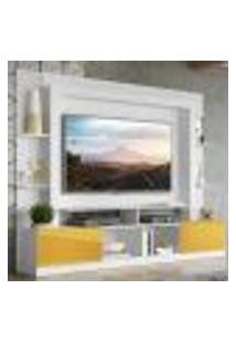 "Rack Estante Com Painel Tv 65"" E 2 Portas Oslo Multimóveis Branco/Amarelo"