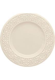 Prato De Sobremesa Oxford Em Cerâmica Com Relevo Marfim 20Cm