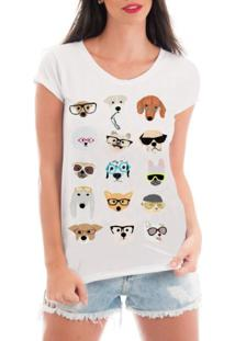 T-Shirt Criativa Urbana Rendada Pet Dogs Glasses Branco