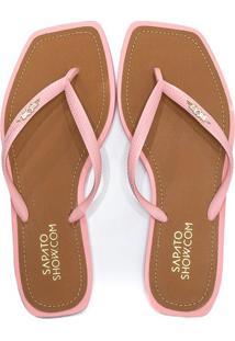 Chinelo Feminino Flip Flop Bico Quadrado Sapato Show 05806