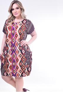 Vestido Plus Size Melinde Dubai Estampado Laranja - Kanui