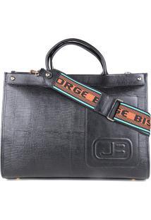 Bolsa Couro Jorge Bischoff Tote Shopper Com Textura Feminina - Feminino-Preto