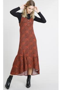 d49564696 CEA. Vestido Feminino Midi Estampado Animal Print Com Babado Alça Fina Cobre