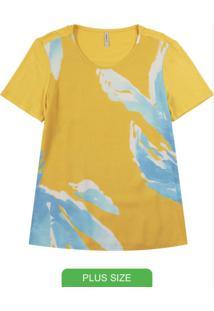Blusa Com Decote Redondo E Estampa Amarelo