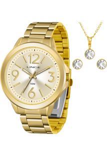 Kit Relógio Lince Feminino Com Colar E Brincos Lrgh089Lkv50C2Kx
