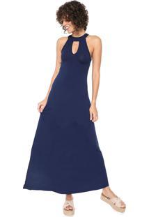 Vestido Mercatto Longo Recortes Azul-Marinho