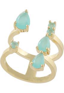 Anel Narcizza Semijoias Aberto Na Frente Com Gotinhas E Pontinhos Azul Claro Leitoso Ouro