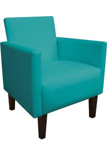 Poltrona Decorativa Compacta Jade Corino Azul Tiffany Com Pés Baixo Chanfrado - D'Rossi