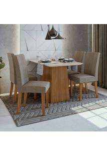 Conjunto Sala De Jantar Mesa Vidro/Mdf E 4 Cadeiras Rock Móveis Lopas Rovere Naturale/Suede Animale Bege