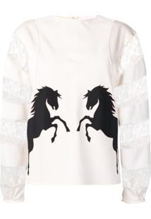 Chloé Blusa Com Renda Floral E Cavalos - Branco