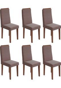 Conjunto Com 6 Cadeiras Dafne Imbuia E Rose