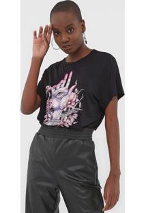 Camiseta Colcci Estampada Preta - Preto - Feminino - Viscose - Dafiti