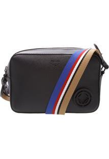 Bolsa Com Alã§A Listrada- Preta & Azul- 14X21X7Cmarezzo & Co.