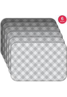 Jogo Americano Love Decor Wevans Xadrez Basic Kit Com 6 Pçs