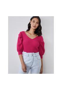 Amaro Feminino Blusa Tricot Decote V Com Manga Drapeada, Pink