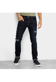 Calça Jeans Skinny Zune Rasgos E Pespontos Masculina - Masculino-Marinho
