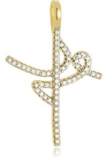 Pingente Fé Em Zirconias Cristal - Ouro Amarelo