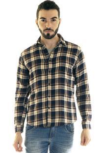 Camisa Konciny Xadrez Flanela 33504 Bege