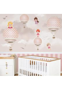Papel De Parede Infantil Balões Rosa - 2.45 X 1.6 Metros