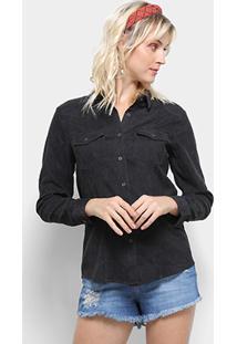 Camisa Manga Longa Top Moda Veludo Cotelê Feminina - Feminino-Preto