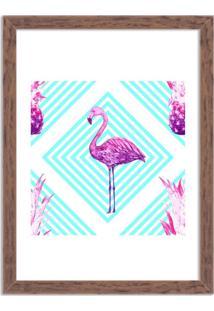 Quadro Decorativo Flamingo Tropical Moderno Madeira - Médio