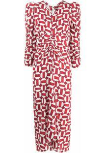 Isabel Marant Vestido Maray Com Estampa Geométrica - Vermelho