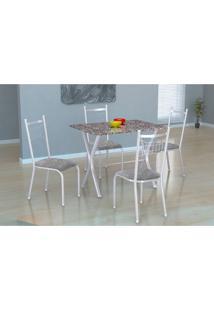 Conjunto De Mesa Miame 110 Cm Com 4 Cadeiras Lisboa Branco E Vegetale