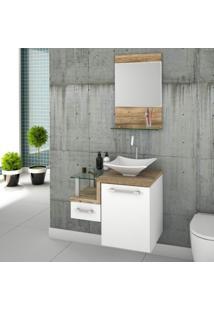 Conjunto Para Banheiro Gabinete Com Cuba De Apoio Folha L34 E Espelheira Legno 631W Branco/Carvalho