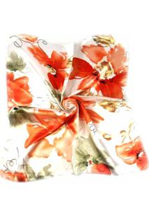 Lenço Artestore Estampado Floral Vermelho E Laranja
