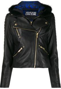Versace Jeans Couture Jaqueta Biker Com Capuz - Preto